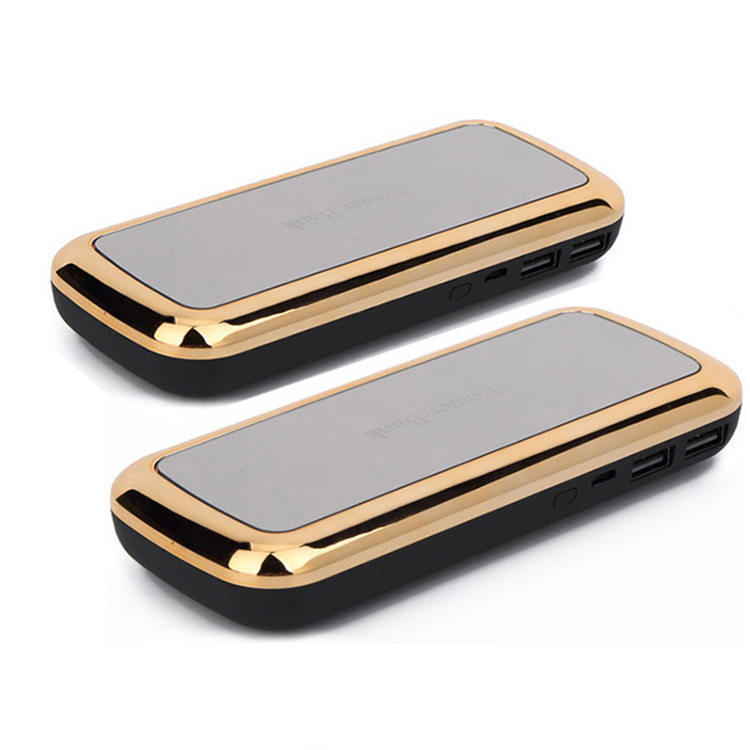 led gold mirror 10000mah universal fast charging portable mirror phone charger
