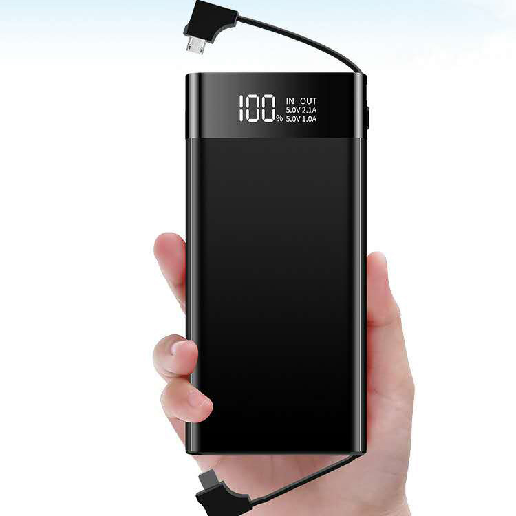 led screen 3 usb port mobile charging portable 10000mah weightless power bank with charging cable